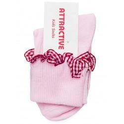 Dziewczęce skarpetki z falbanką - różowe.