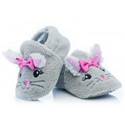 Buciki niemowlęce dla małej dziewczynki - szare myszki.