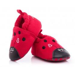 Kapcie niemowlęce niechodki - czerwone biedronki.
