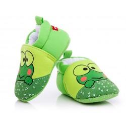 Buciki niemowlęce niechodki - zielone żabki.