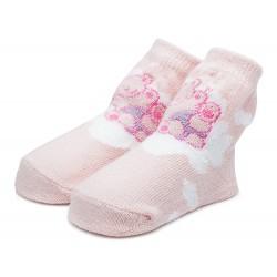 Różowe skarpetki niemowlęce dla dziewczynki.