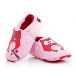 Buciki niemowlęce niechodki dla dziewczynki, różowe sowy.