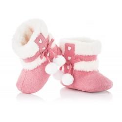 Śliczne różowe kozaczki niemowlęce z białymi pomponami. Buciki niechodki.