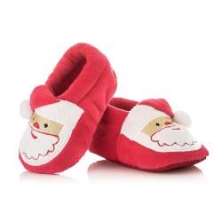 Świąteczne buciki niemowlęce z Mikołajem. Kapcie niechodki.