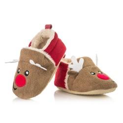Świąteczne buciki niechodki z reniferem idealne na prezent dla noworodka.