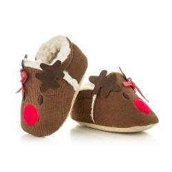 Buciki świąteczne dla niemowlaka - reniferki. Kapcie na prezent.
