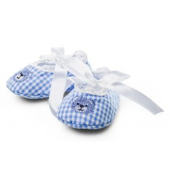 Bawełniane buciki niemowlęce dla chłopca, niebieska krata z misiem.