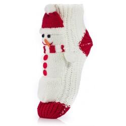 Damskie skarpetki świąteczne - bałwanek w czapce i szaliku.