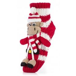 Skarpetki świąteczne pod choinkę - biało-czerwone z koziołkiem.
