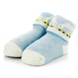 Niebieskie skarpetki niemowlęce z frotki dla chłopca.