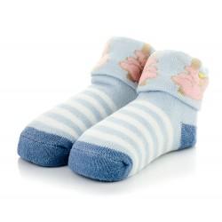 Niebieskie skarpetki niemowlęce z frotki dla chłopczyka.