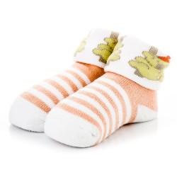 Skarpetki niemowlęce z frotki dla dziewczynki w łososiowe paski.