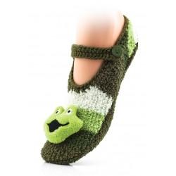 Ciepłe baletki-kapcie domowe zapinane na guzik. Zielona żabka.
