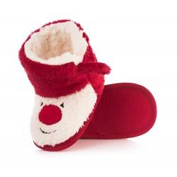 Świąteczne kapcie dla dzieci z Mikołajem zapinane na rzep. Ciepłe i lekkie.
