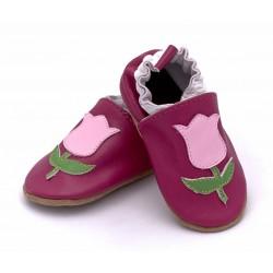 Buciki ze skóry dla dziewczynki - tulipanki.
