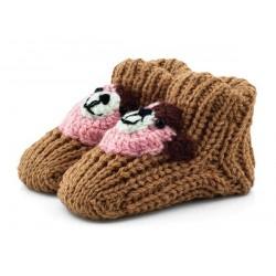 Skarpety niemowlęce jak babcine robione na drutach. Brązowe z misiem.