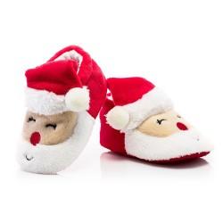Czerwone buciki niemowlęce ze Świętym Mikołajem.