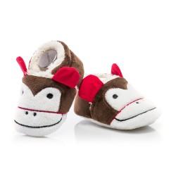 Buciki niechodki - kapcie niemowlęce wesołe małpki.