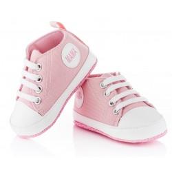 Różowe trampki dla dziewczynki - niechodki z napisem MAMA.