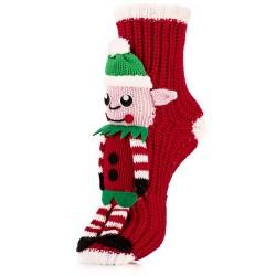 Skarpetki na prezent - elf Mikołaja w zielonej czapce.