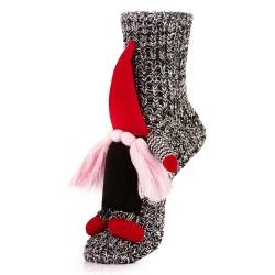 Skarpetki na Boże Narodzenie - elf z wąsami w czerwonej czapce.