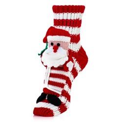 Skarpetki w czerwone paski z Mikołajem - śmieszny prezent.