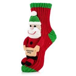 Skarpety świąteczne z Mikołajem z napisem Wesołych Świąt.