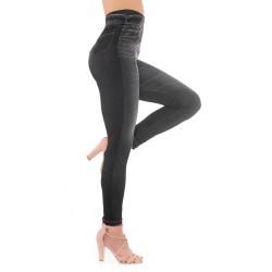 Leginsy jeansowe ala spodnie, czarne jegginsy. Doszywane kieszonki.