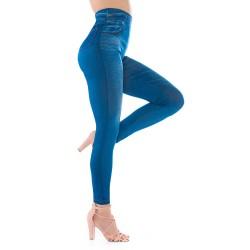 Niebieskie legginsy jeansowe imitujące spodnie. Doszywane kieszenie.