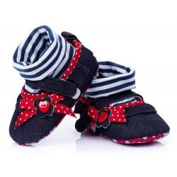 Lekkie buciki niemowlęce - granatowy jeans z czerwoną kokardką.
