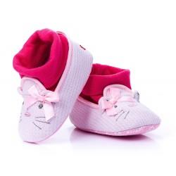 Lekkie różowe buciki niemowlęce w formie kotka