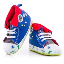 Niebieskie trampki niechodki dla niemowląt z wywijaną cholewką.