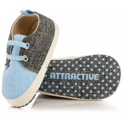 Lekkie buciki niemowlęce chłopiec - szaro-niebieskie niechodki.