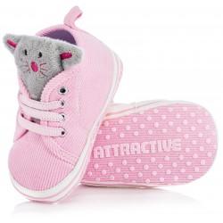 Różowe trampki dla dziewczynki - lekkie niechodki niemowlęce.