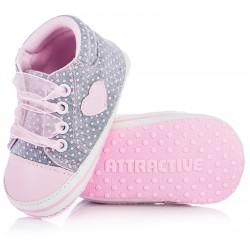 Piękne trampki niechodki dla dziewczynki - lekkie buciki niemowlęce.