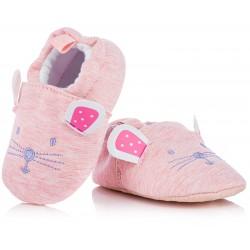 Kapcie niemowlęce dla dziewczynki, różowe myszki.