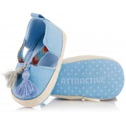 Lekkie przewiewne buciki niechodki dla chłopca - niebieskie kapcioszki.