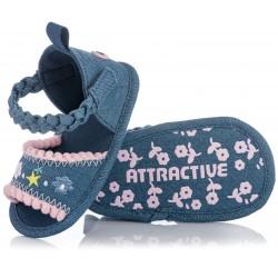 Lekkie sandałki niemowlęce dla dziewczynki - granatowe niechodki na lato.