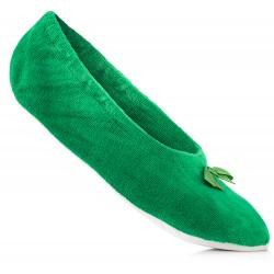 Zielone baletki welurowe do domu - rozmiary damskie i dziecięce.
