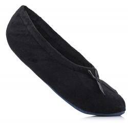 Czarne baletki domowe, kapcie w postaci balerinek dla dziewczynki.