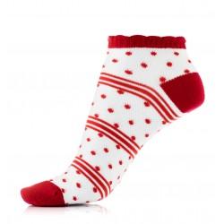 Czerwone cienkie bawełniane stopki damskie. Idealne na lato.