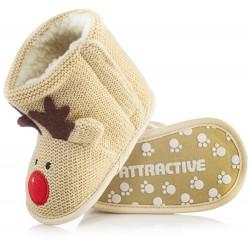 Beżowe kozaczki reniferki dla niemowlaka zapinane na rzep.