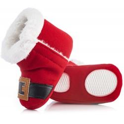 Czerwone kozaki Świętego Mikołaja dla niemowlaka zapinane na rzep.