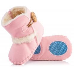 Różowe kozaczki dla dziewczynki - niechodki. Idealne na chłodne dni.
