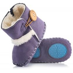 Fioletowe kozaczki dla niemowlaka - niechodki. Idealne na jesienne dni.
