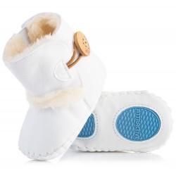 Białe kozaczki dla niemowlaka - niechodki. Idealne na chłodne dni.