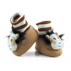Buciki niemowlęce z grzechotką - BCI010 brown