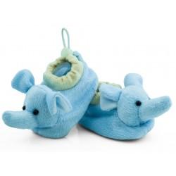 Buciki niemowlęce niechodki z grzechotką - słoniki.