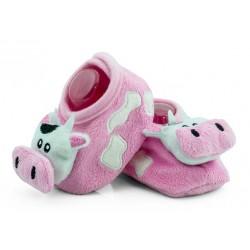Niechodki dla niemowlaka z grzechotką - różowe krówki.