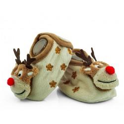 Buciki niemowlęce z grzechotką, świąteczne reniferki.